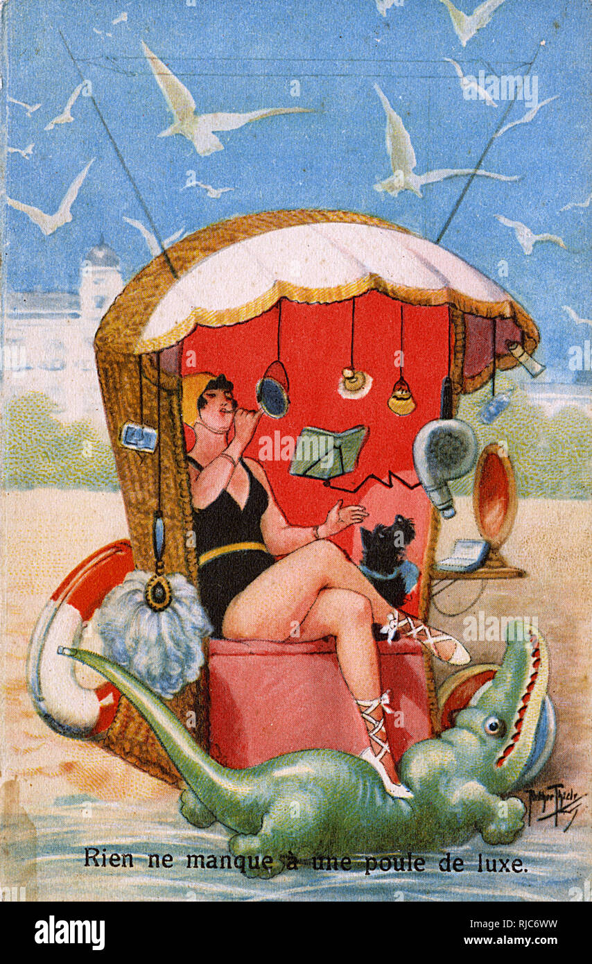 A well-provided-for woman relaxing by the sea with EVERYTHING she could ever want from a hairdryer to an inflatable crocodile! There are several ways to translate 'Poule de Luxe' into English, from 'fancy chicken' to more standard translations including 'trophy wife', 'gold-digger', 'fancy pants', 'diva', 'high‑maintenance girlfriend', or, in a more pejorative sense, a 'high-class hooker'! - Stock Image
