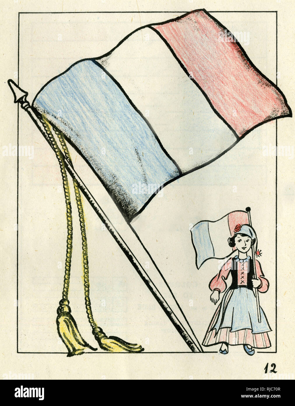 Colouring page for victory paint book with a french flag and a little girl in national costume