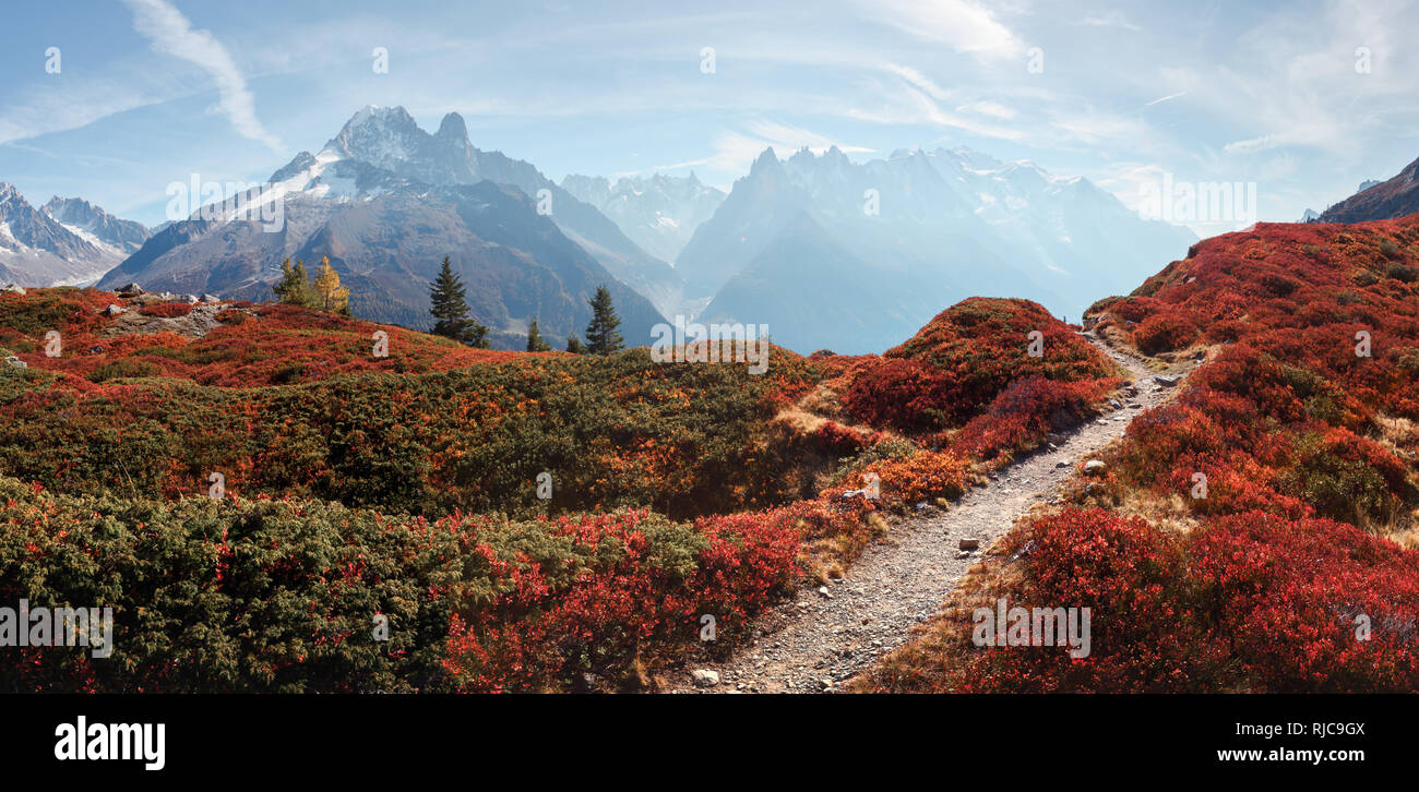 Amazing view on Monte Bianco mountains range with with Monblan on background. Vallon de Berard Nature Preserve, Chamonix, Graian Alps. Landscape photography - Stock Image