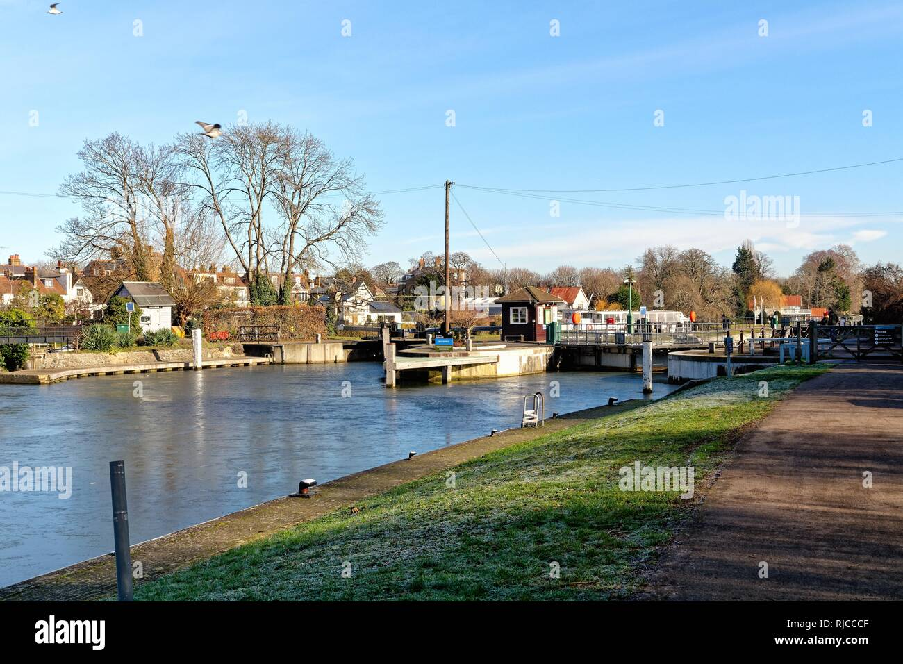 The River Thames at Sunbury Lock Surrey on a sunny winters day England UK Stock Photo