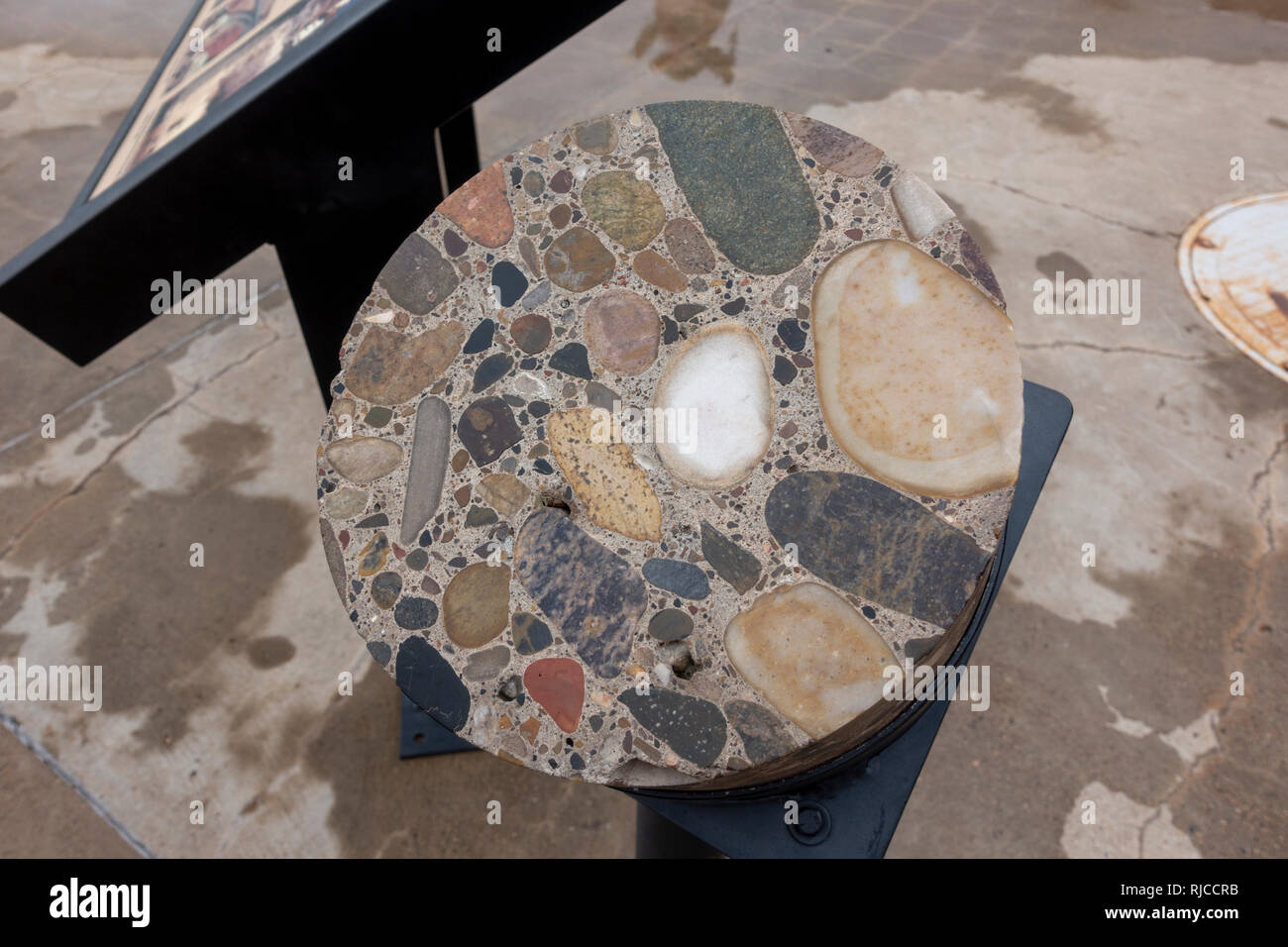 A concrete core sample made during the construction of the Glen Canyon Dam, as seen on the tour, Page, Arizona, United States. - Stock Image
