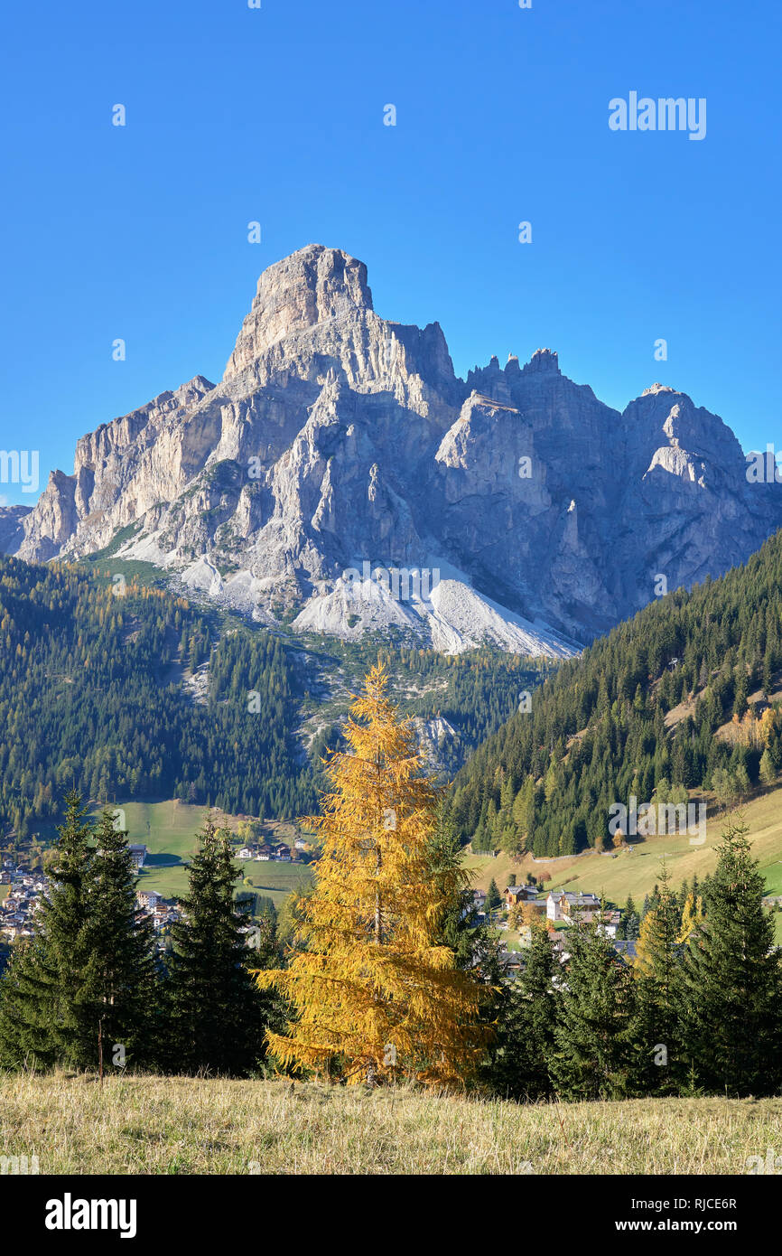 View across Corvara to Sassongher, Dolomites, South Tyrol, Italy. Stock Photo