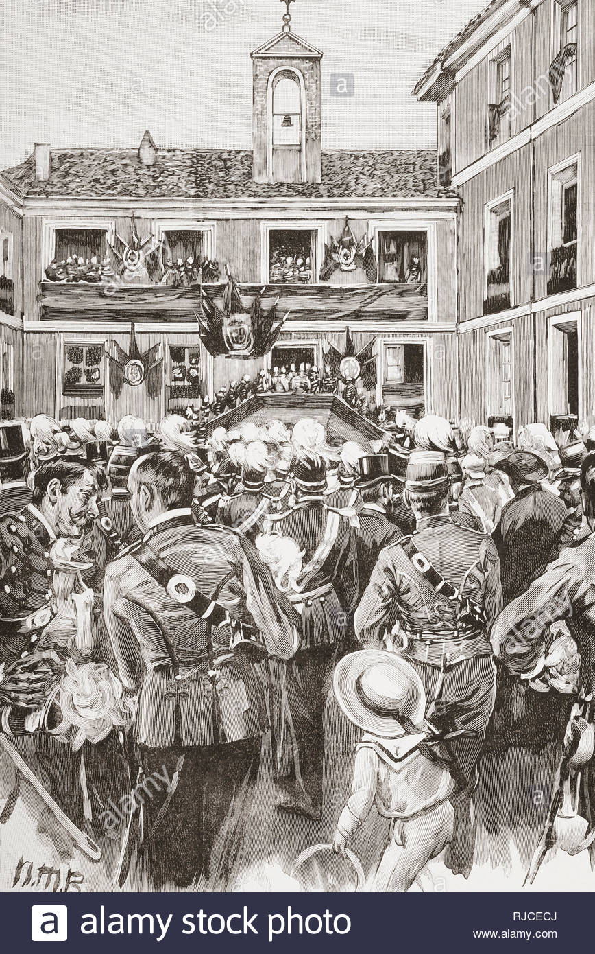 The inauguration of the Cavalry Academy, Valladolid, Spain, in 1852, the building was destroyed by fire in 1915. From La Ilustracion Espanola y Americana, published 1892. - Stock Image