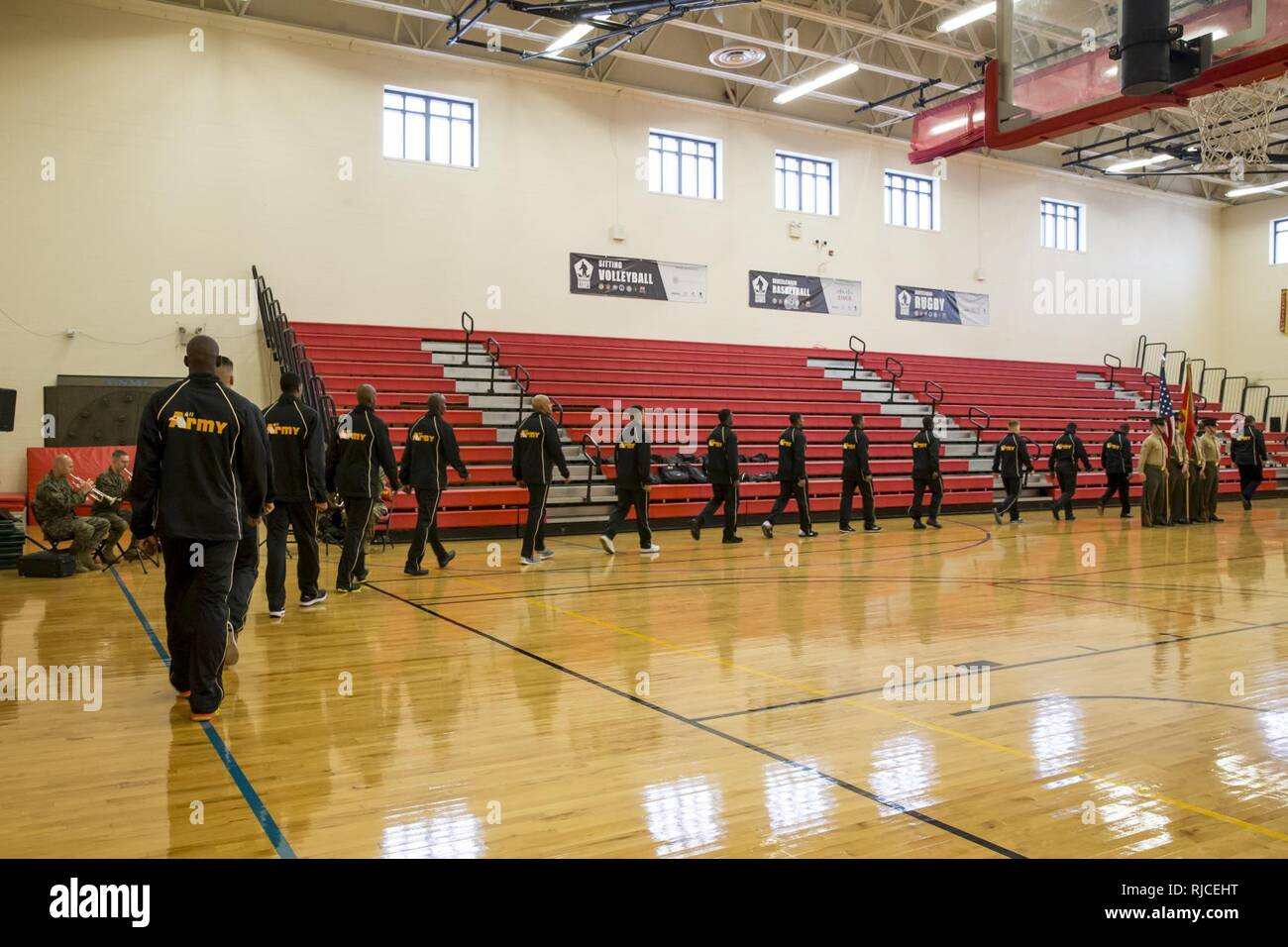 U.S. military members of the All Army basketball team arrive for the 2016  Armed Forces Basketball d74edf4d6cd