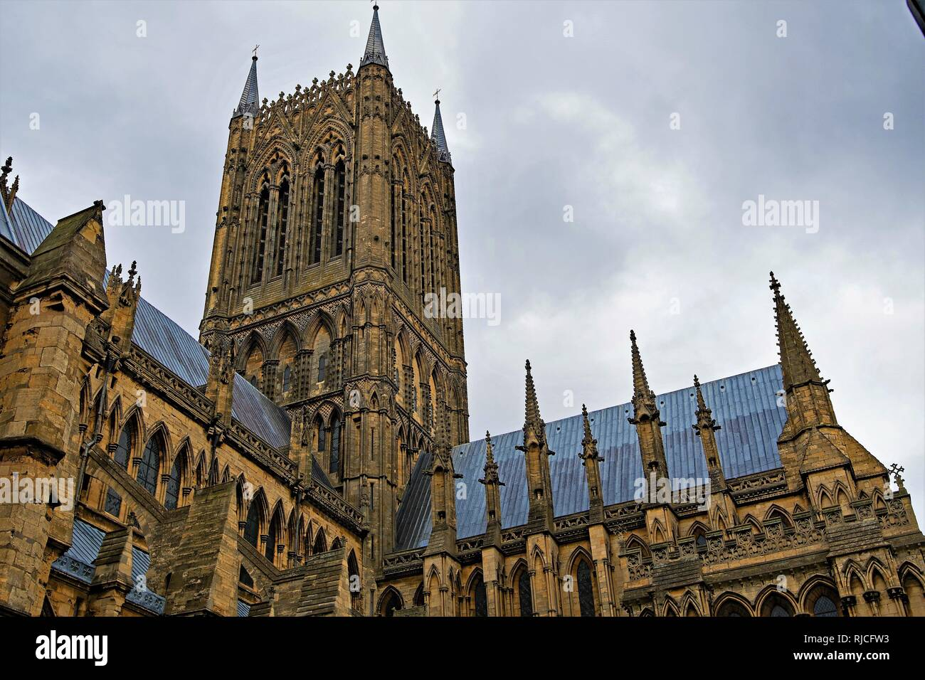 January blues at Lincoln Cathedral, Lincolnshire. - Stock Image