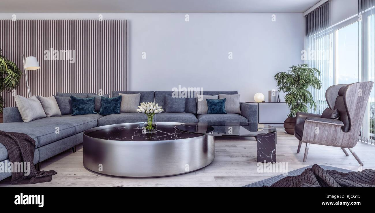 Modern Interior Design Of Italian Style Living Room Contemporary Luxury Daylight Stock Photo Alamy