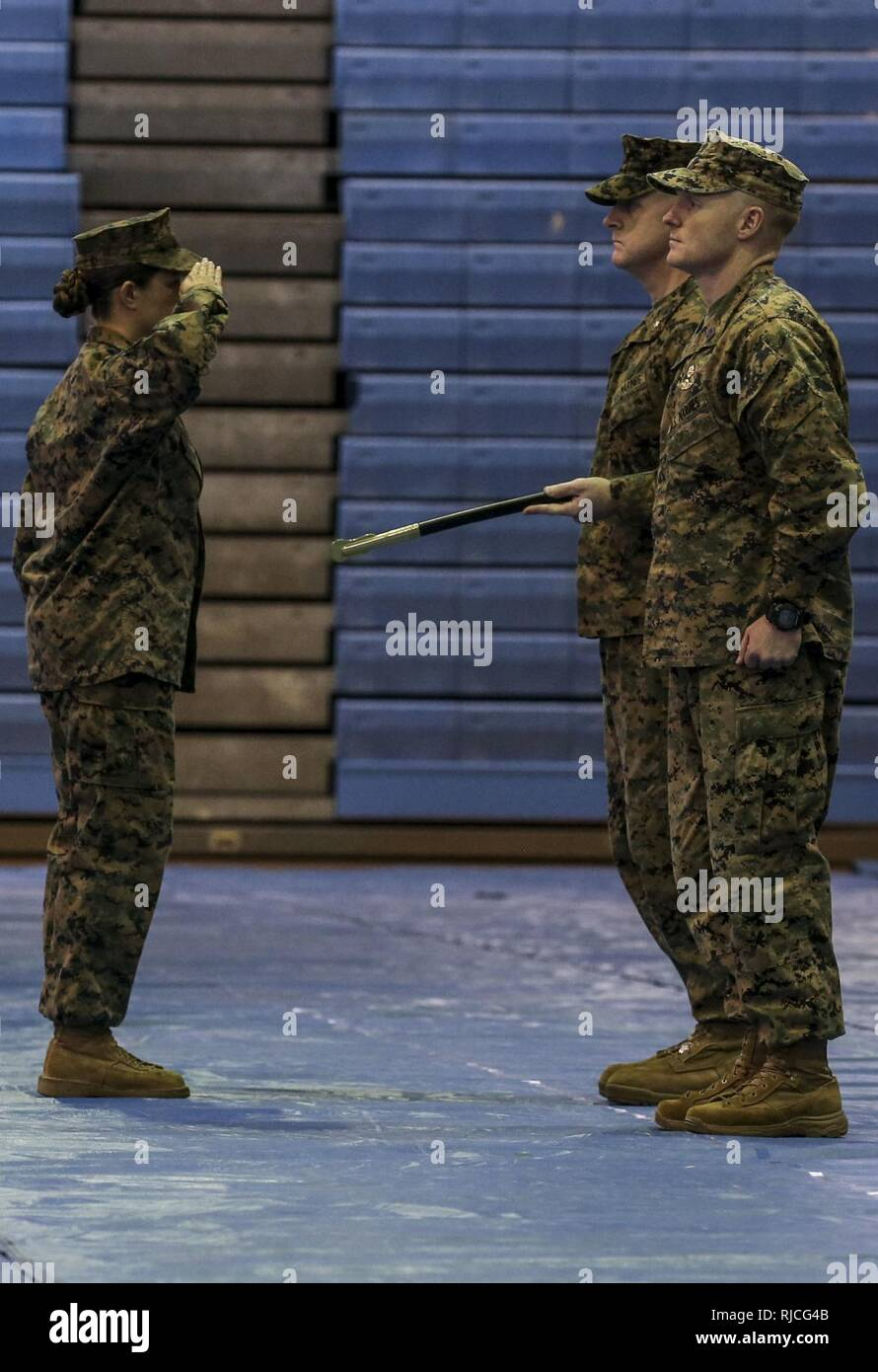 U.S. Marine Corps Sgt. Maj. Christina A. Grantham, on coming sergeant major for Marine Air Support Squadron 2 (MASS-2), Marine Air Control Group 18, 1st Marine Aircraft Wing, salutes Lt. Col. Daniel M. Murphy, commanding officer, MASS-2, during a Relief and Appointment ceremony on Marine Corps Air-Station Futenma, Okinawa, Japan, Jan. 11, 2018. Grantham relieved Sgt. Maj. Joshua J. Smith as the sergeant major for MASS-2. - Stock Image