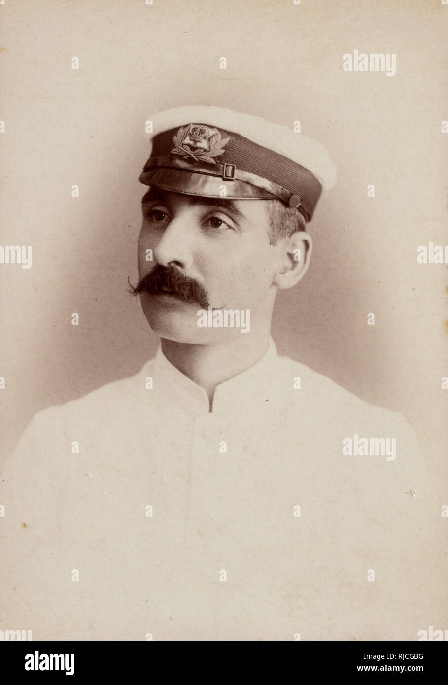 Cabinet photograph - Royal Navy Officer stationed in India. Stock Photo