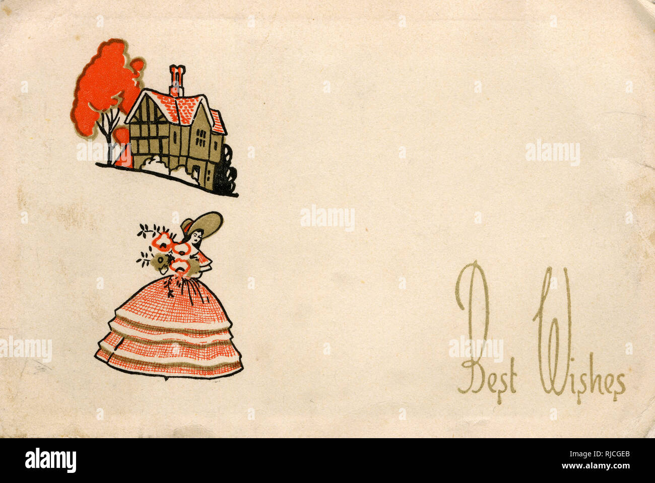The front cover of a greetings cards, circa 1930s, showing a stylised lady in a crinoline dress holding a bouquet of flowers, with a timbered house in the background. - Stock Image