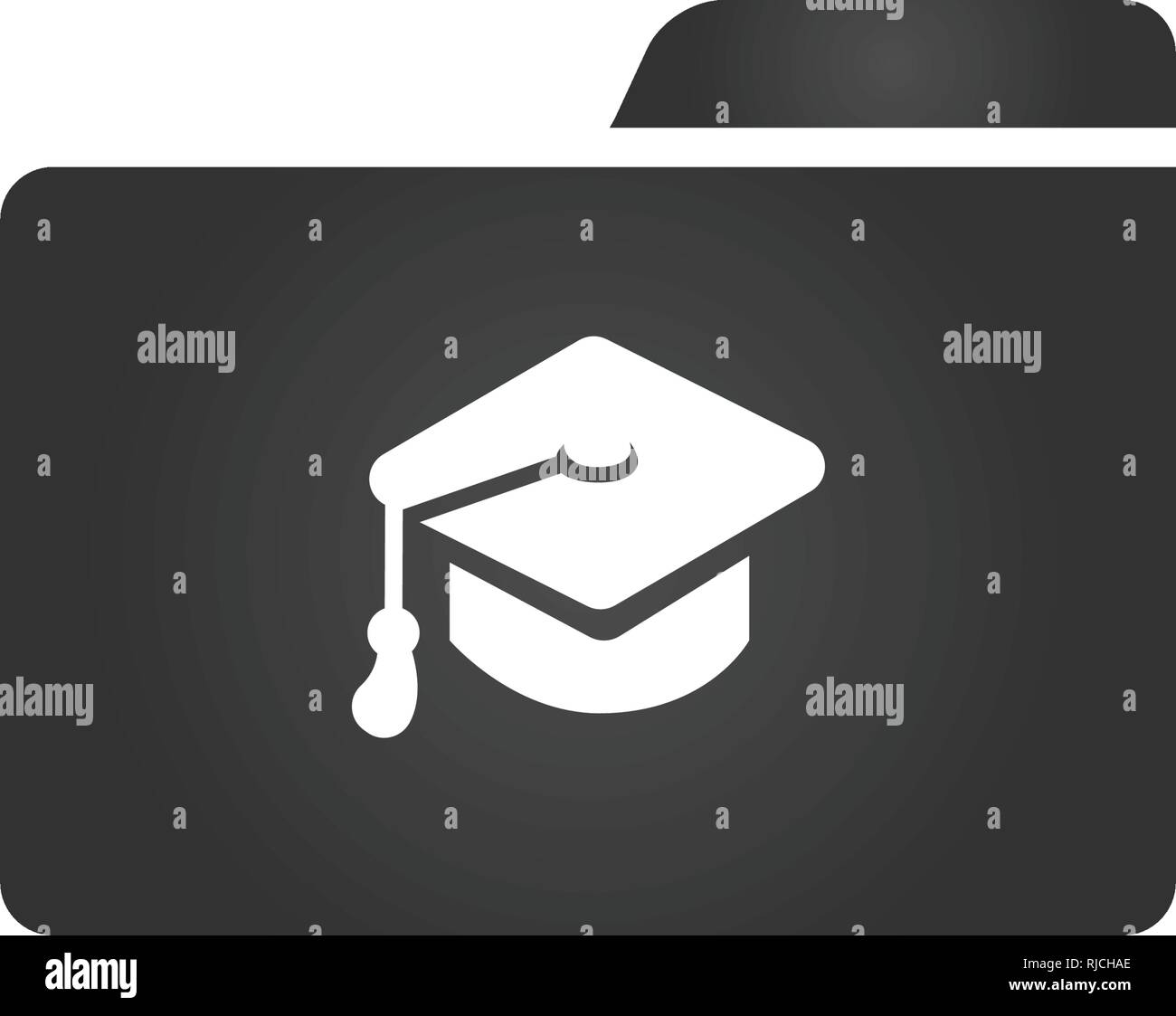 1ef531d18a3 Folder Icon with graduation cap in trendy flat style isolated on white  background
