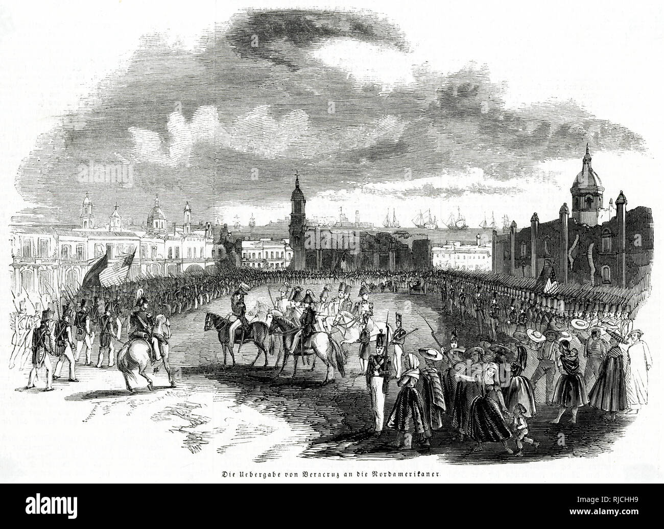 American troops stand in formation across a large square, with soldiers on horseback gathered in the centre to celebrate the successful capture of Veracruz the day previously. A crowd of civilians, stands off to the right looking at the soldiers. This was during the Mexican-American War, with Veracruz being captured by the Americans after a 2 week siege, on 28th March 1847. - Stock Image