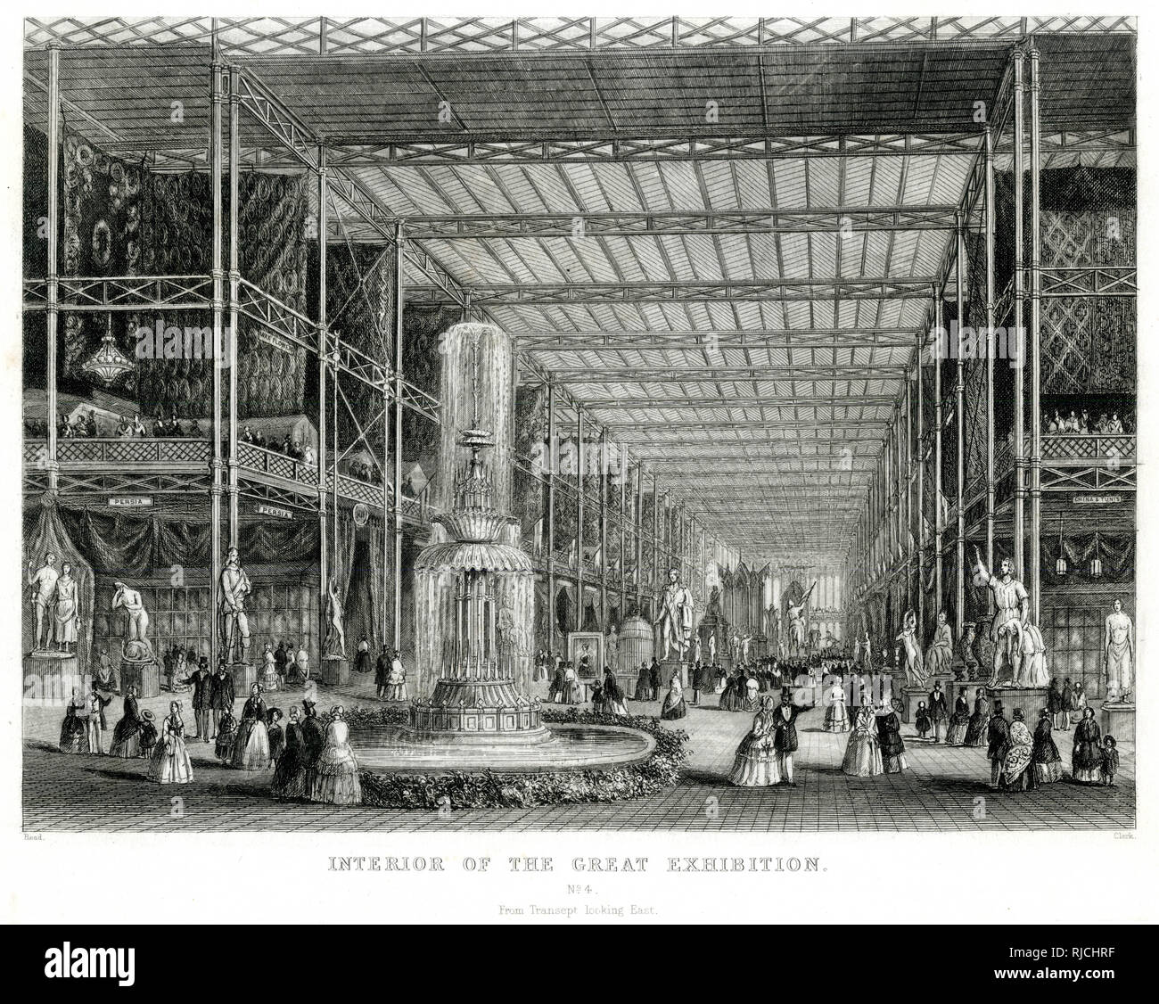 Interior of the Great Exhibition at the Crystal Palace at Hyde Park, from the transept looking east. - Stock Image