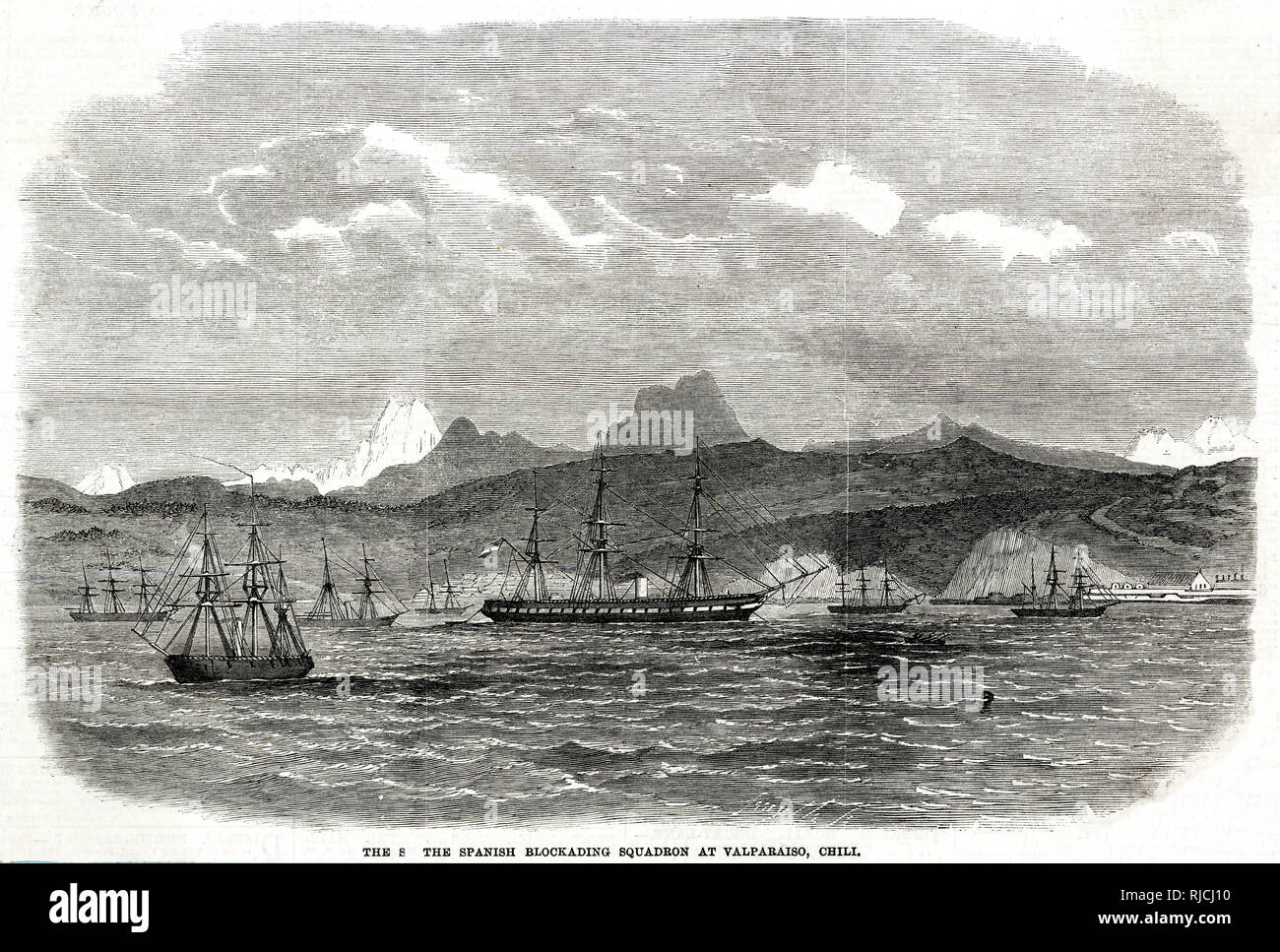 A Spanish squadron blockading the port at Valparaiso, Chile. Several Spanish ships sit broadside to the shore, incapacitating Chilean ships and port industry. This was in response to Chile's refusal to restock Spanish ships with coal during its seizure of Chincha Islands from Peru in 1864. Eventually Peru would form an alliance with Chile, Ecuador, and Bolivia against the Spanish. Stock Photo
