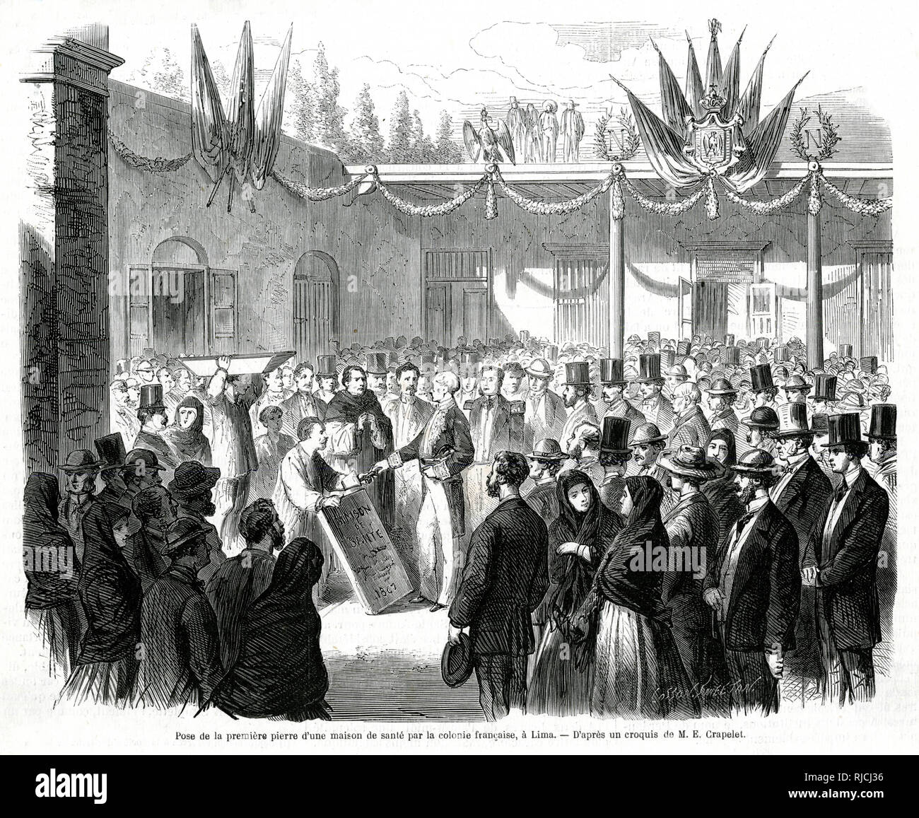 The laying of the first stone of a nursing home in the french colony at Lima. A crowd of people wait for the laying of the first stone, being inspected by a man in the middle of the room, to celebrate the opening of a new nursing home in Lima. Stock Photo