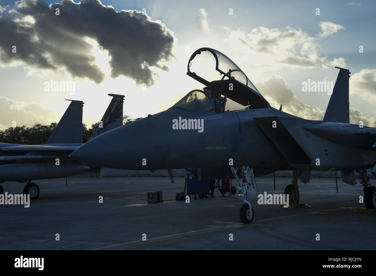 U S  Air Force F-15C Eagle fighter jets from California Air National