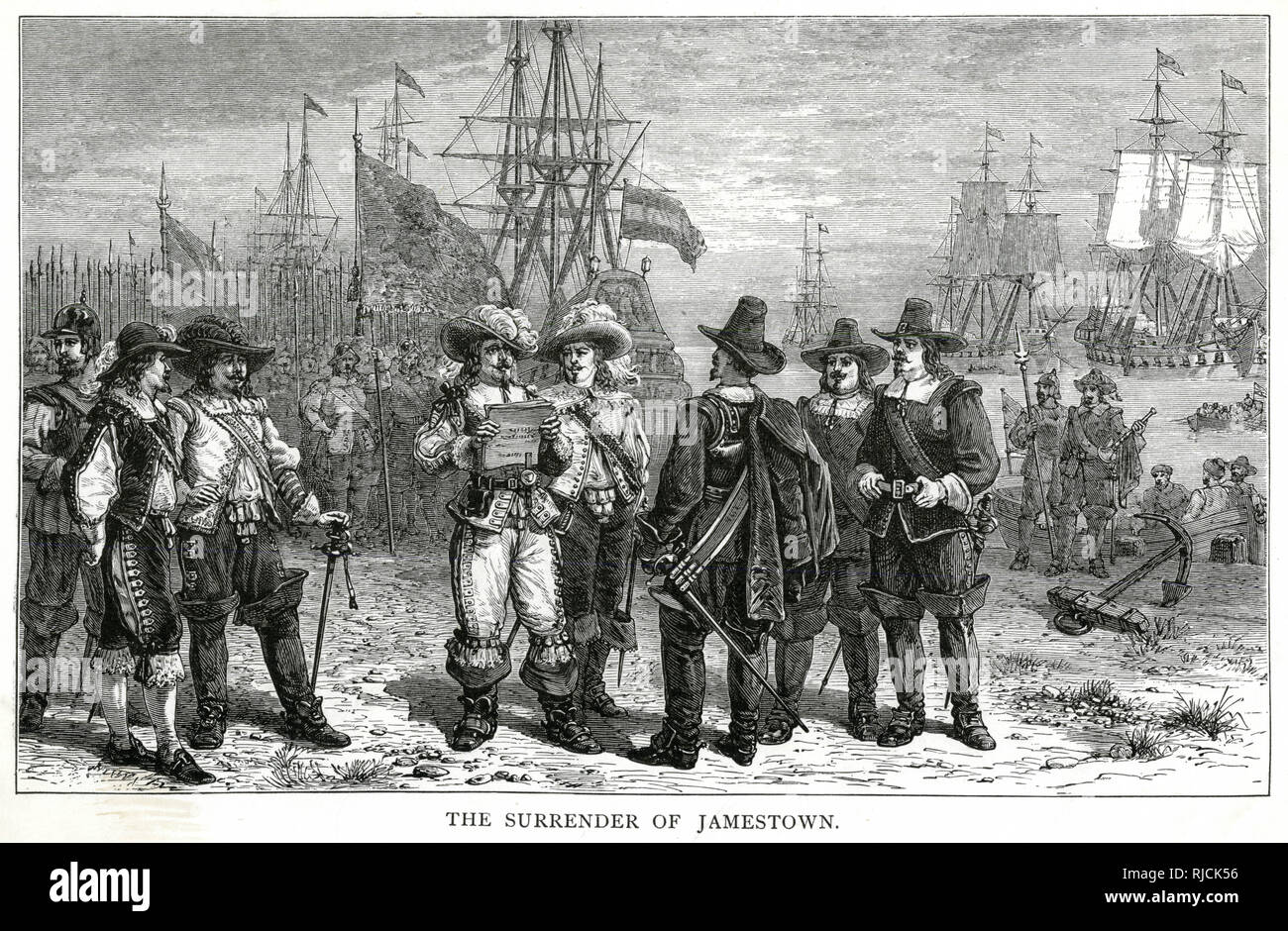 The Governor of Jamestown and the Jamestown Council stand