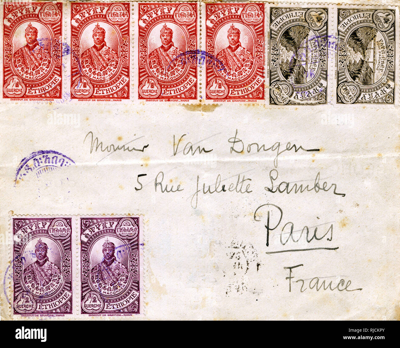 Envelope with stamps from the Royal Hotel, Addis Ababa, Ethiopia, to an address in Paris, France. Stock Photo