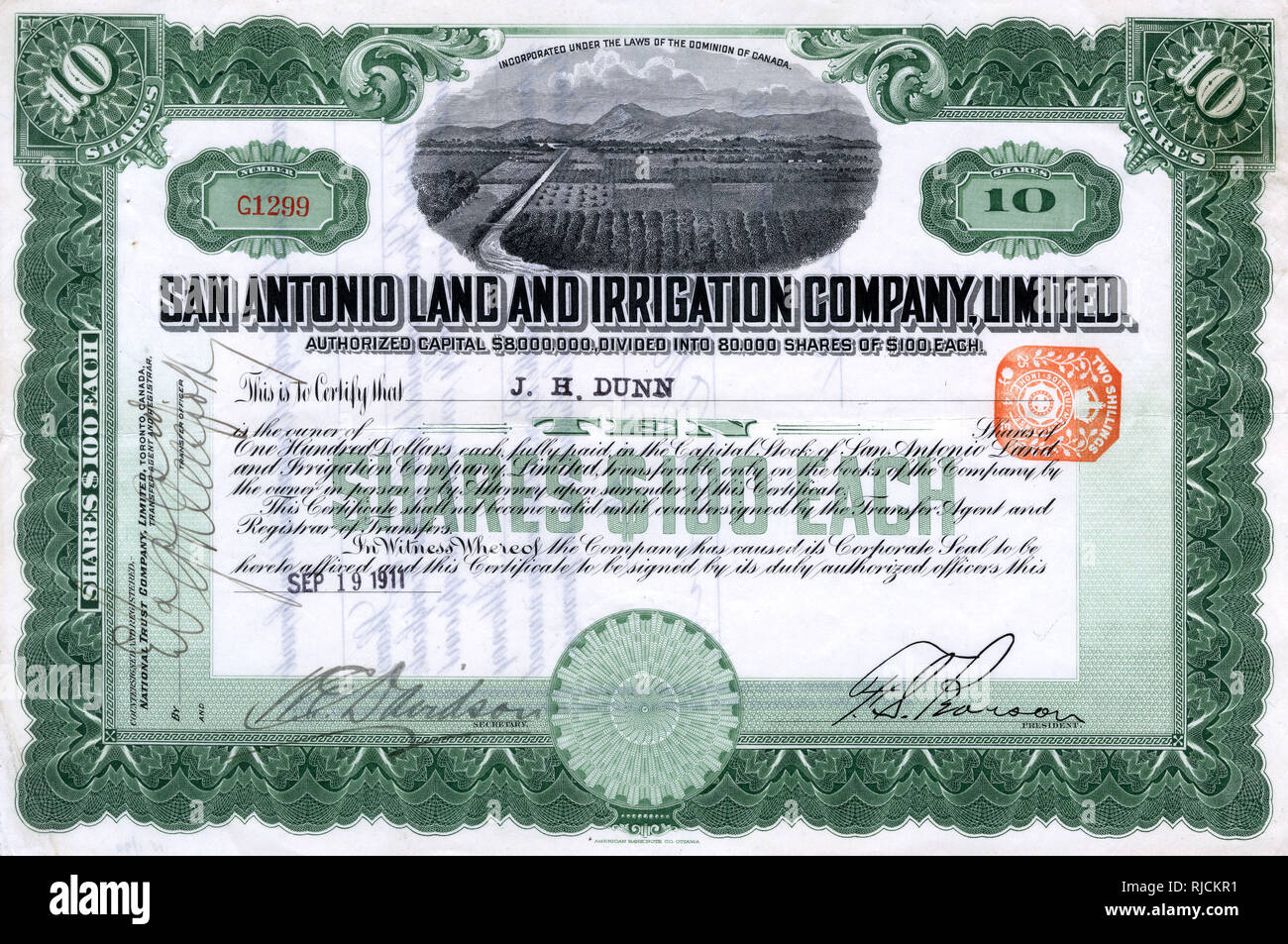 Share certificate, San Antonio Land and Irrigation Company Limited -- 10 shares, dated 19 September 1911, made out to J H Dunn. - Stock Image