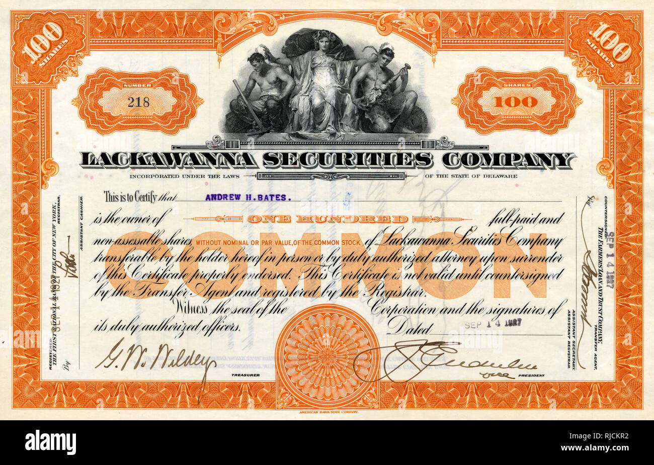 Share certificate, Lackawanna Securities Company -- 100 shares, dated 14 September 1927, made out to Andrew H Bates. - Stock Image