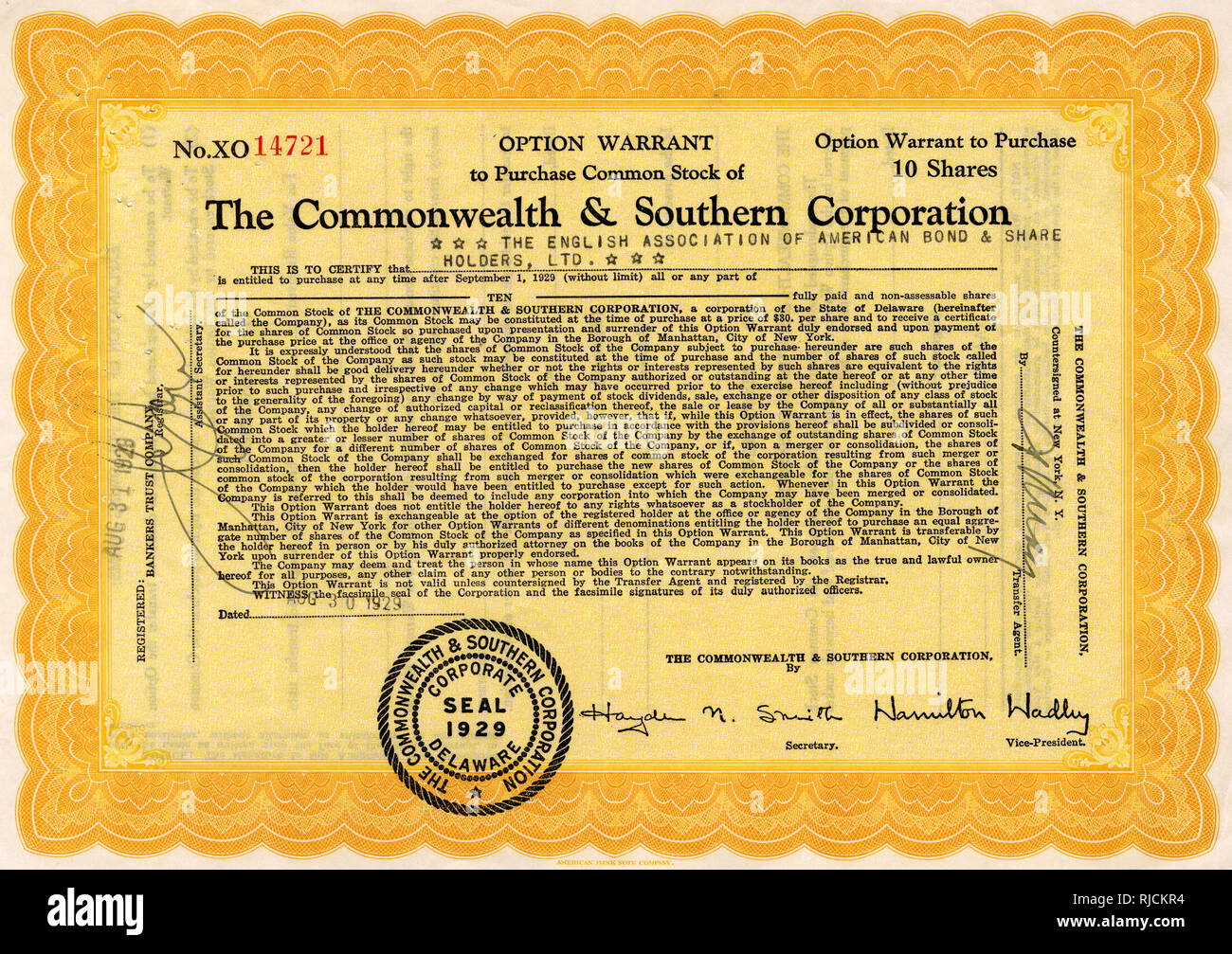 Option warrant to purchase common stock of The Commonwealth & Southern Corporation, Delaware, USA -- 10 shares, dated 31 August 1929. - Stock Image