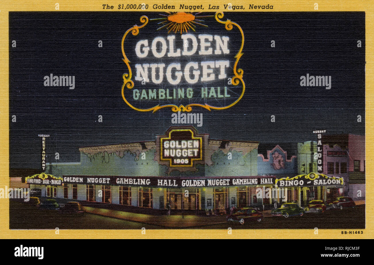 Night view of The Golden Nugget gambling hall, Fremont Street, Las Vegas, Nevada, USA. Stock Photo