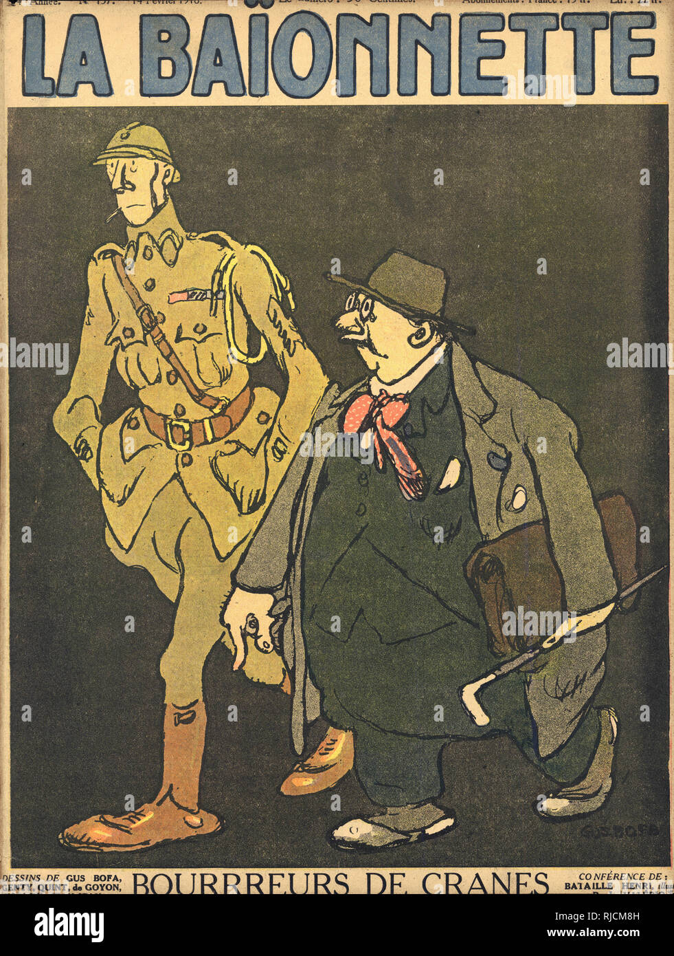 Front cover design for La Baionnette, Head Crushers. Showing a tall soldier in khaki uniform and a plump bureaucrat. Stock Photo