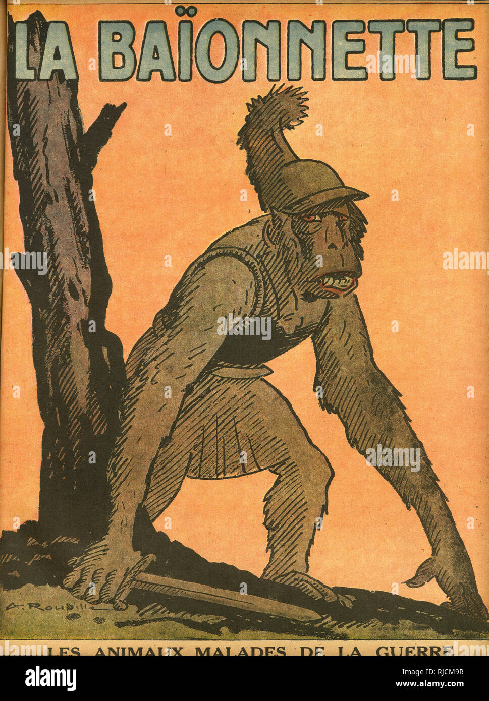 Front cover design for La Baionnette, the sick animals of the war. Showing a monkey dressed as a Roman soldier. - Stock Image