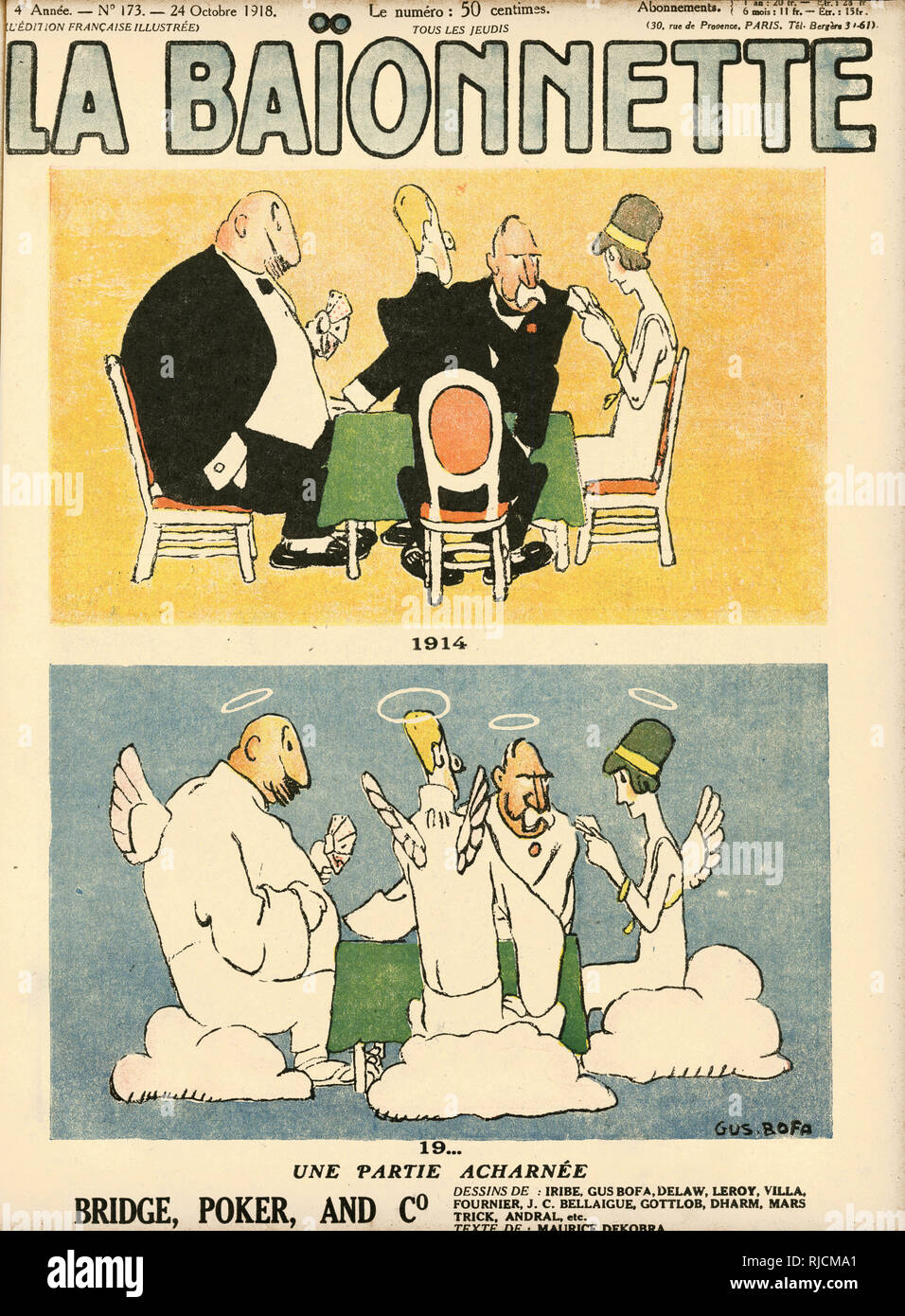 Front cover design for La Baionnette, 1914, 19.., A Tough Call.  Bridge, Poker and Co. Life continues in heaven. - Stock Image