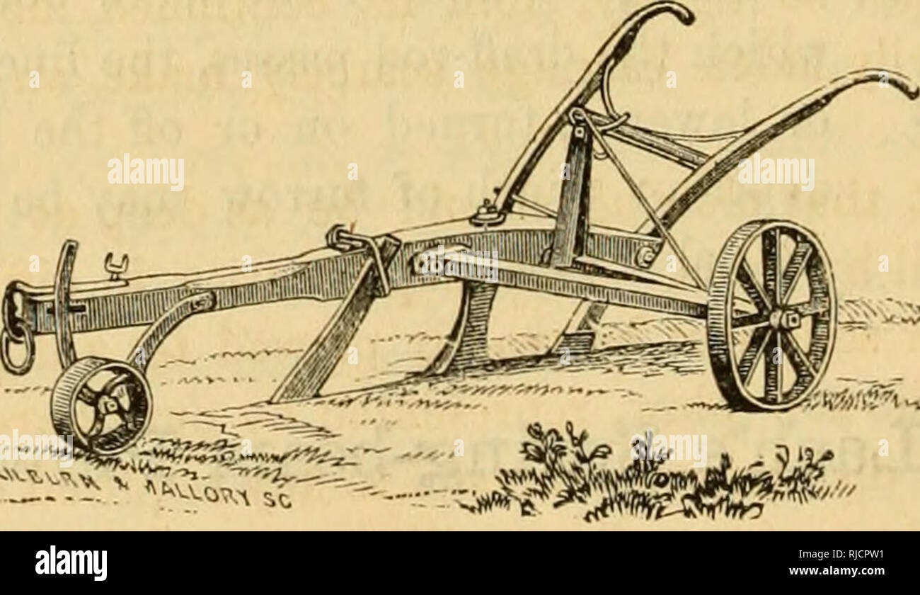 """. Charles V. Mapes'. Agricultural machinery. Fig. 99. itself through the draft-rod toggle to the spring, causing it to be depressed, and thus dividing the momentum, and taking the jar oflF the plow, the plowman, and the team. We quote the following from the report of a committee of the American Institute, who experimented with this contrivance on the farm of the editor of the Working Farmer: """" Your committee witnessed the operation of this machine and fairly tested its usefulness. A stake four inches in diameter was driven two feet into the ground; and when the plow to which Mr. Lash's co - Stock Image"""