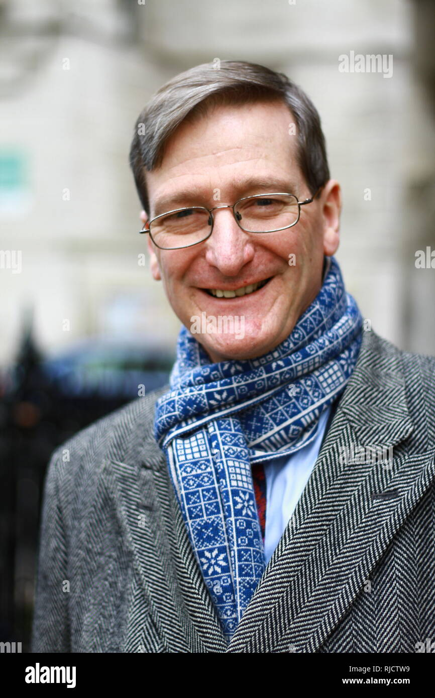 Dominic Grieve MP in Westminster, London, UK. on 5th February 2019. Conservative party. Member of the Privy council. Barrister and Queens council. [ QC ]  Pro Europe. British politicians. UK Politics. MPS. Member of the parliament of the United Kingdom. Stock Photo