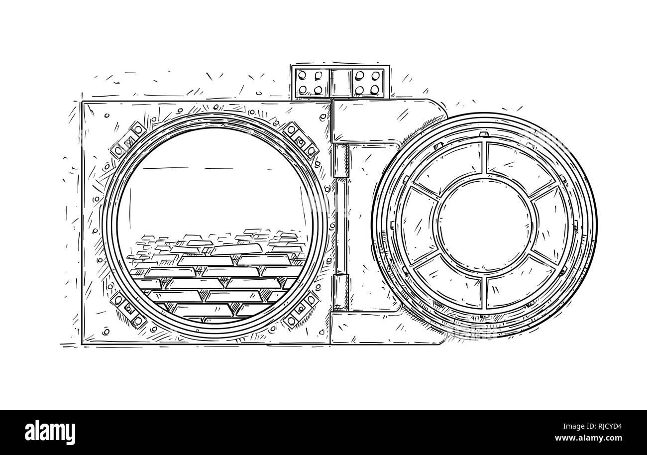 Cartoon Drawing of Open Vault Door With Gold Bars - Stock Image