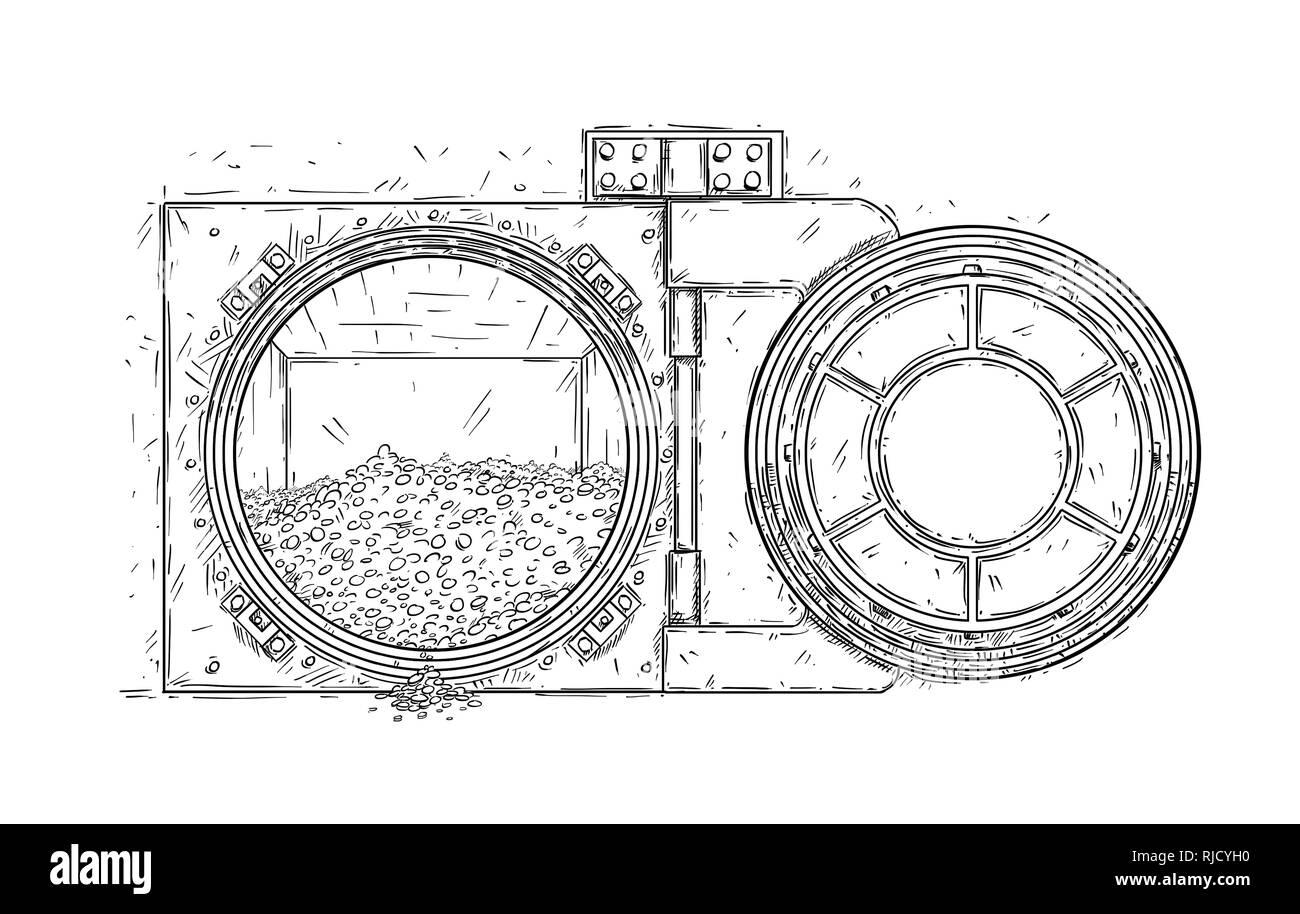 Cartoon Drawing of Open Vault Door With Pile of Gold Coins - Stock Image