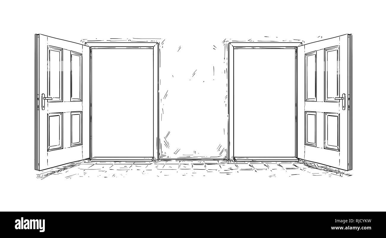 Cartoon of Two Open Wooden Decision Door Stock Photo