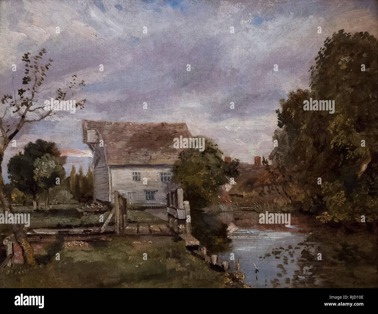 John Constable (1776-1837), attribution doubtful, Mill on the River Stour, ca. 1820.  Mühle am Flusse Stour. Alte Nationalgalerie, Berlin. - Stock Image