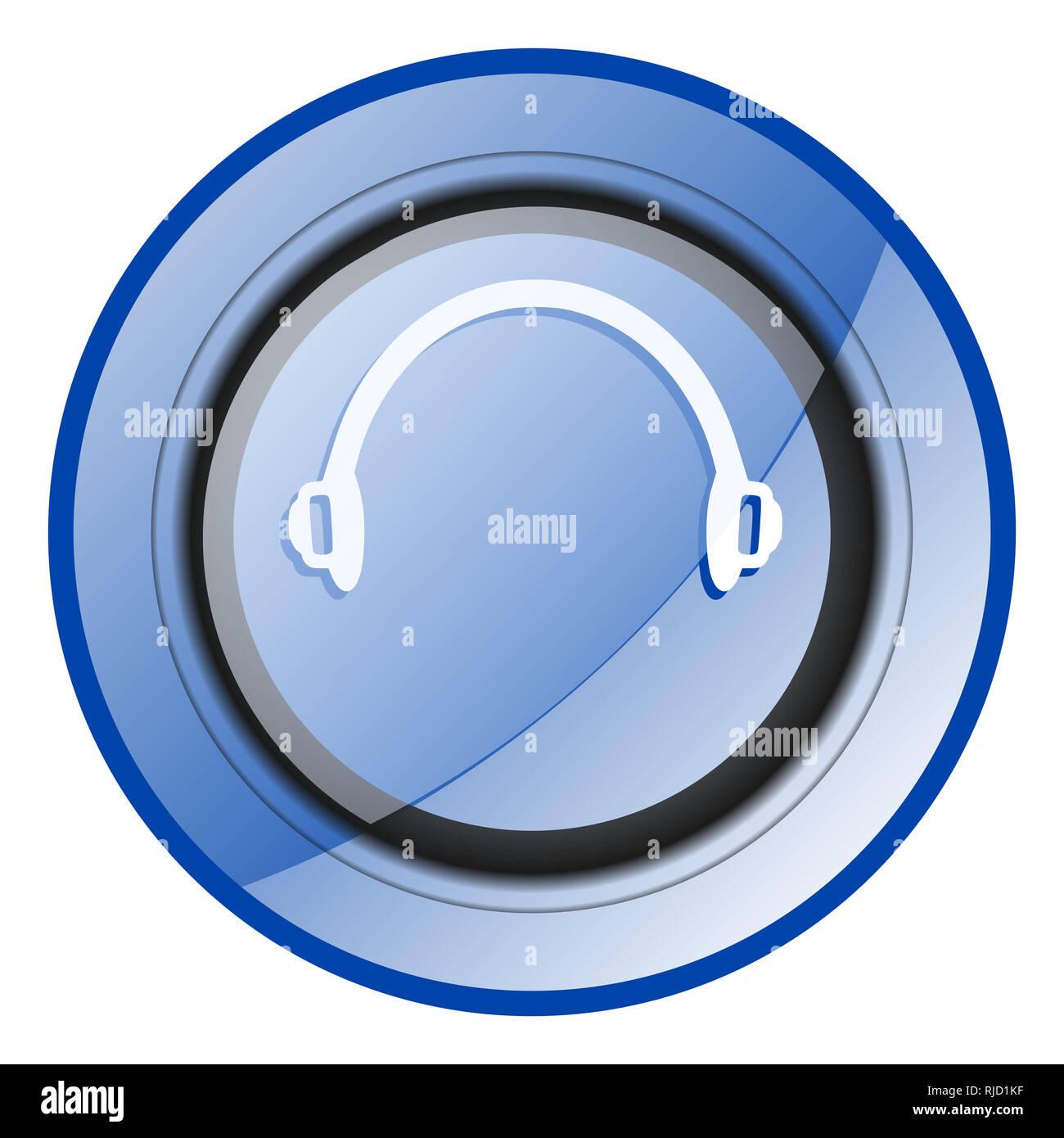 Headphones round blue glossy web design icon isolated on