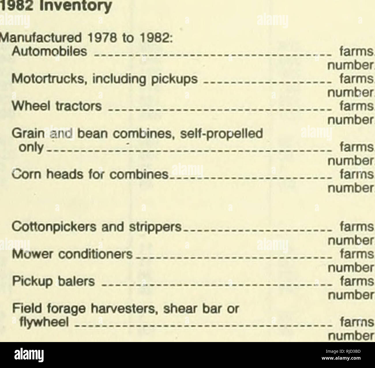 1982 census of agriculture  Agriculture  Table 8  Machinery