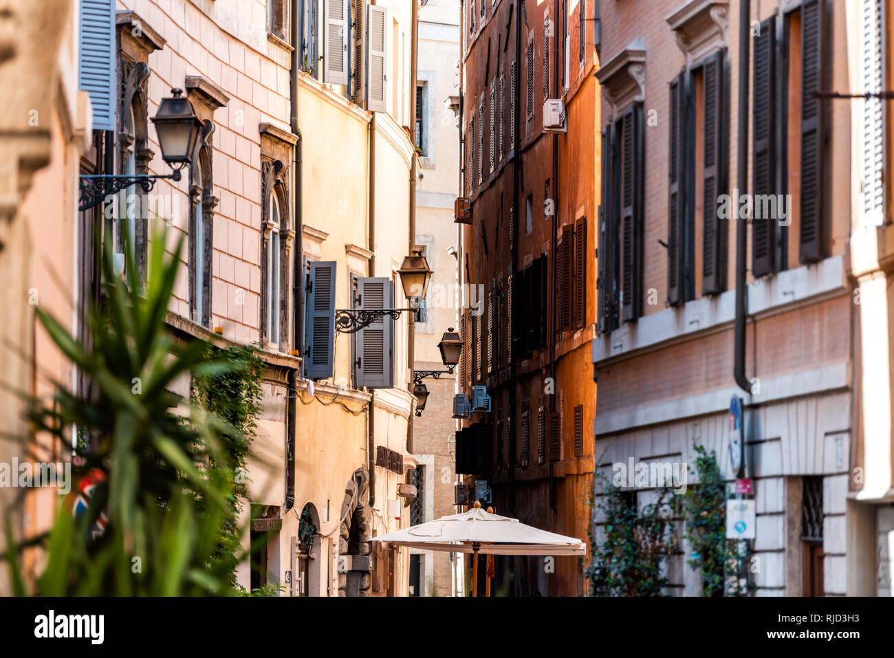 Rome, Italy - September 4, 2018: Italian outside traditional narrow empty alley with nobody on street in historic city summer plants lanterns Stock Photo