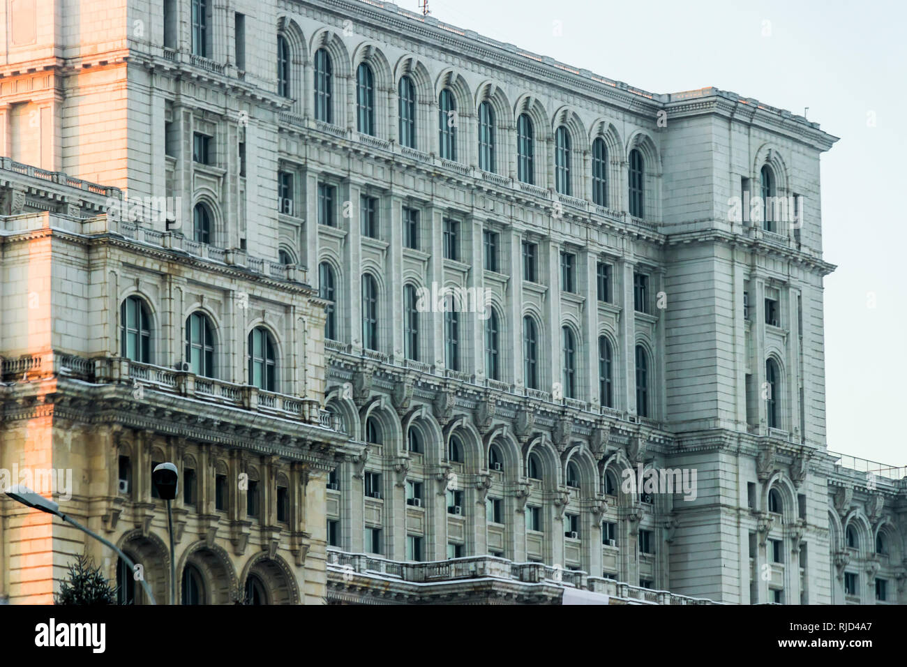 Romanian parliament palace building detail scene Stock Photo