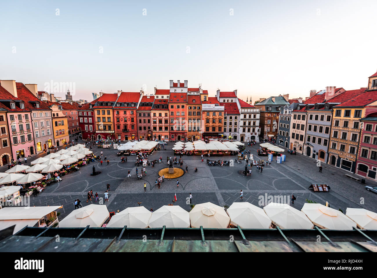 Warsaw, Poland - August 22, 2018: Old town market square with historic cobblestone street during summer day view of old market square in town cafe res Stock Photo