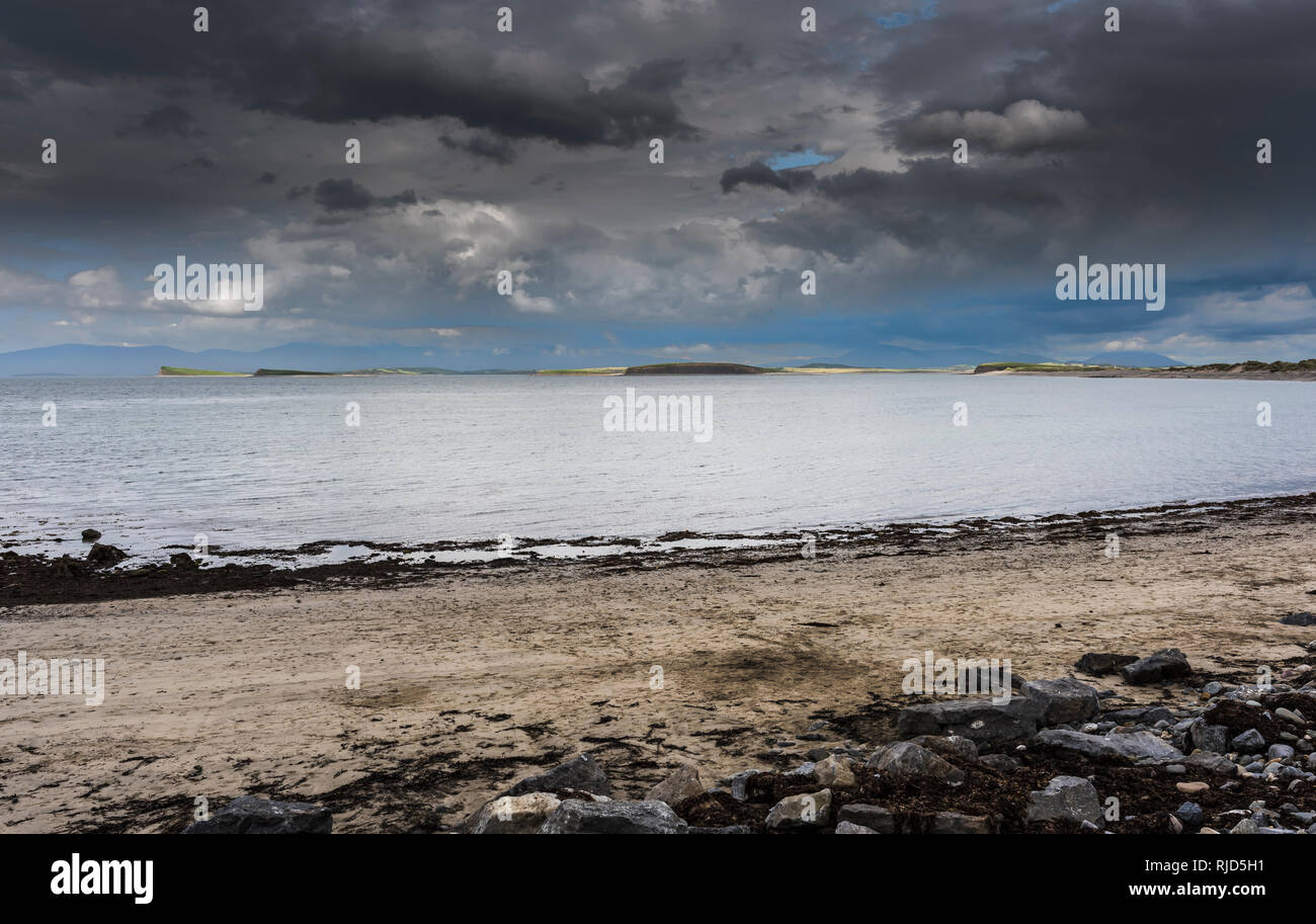 Clew Bay with a few of its famous drumlins from Bertra Beach, near Westport, County Mayo, Ireland - Stock Image