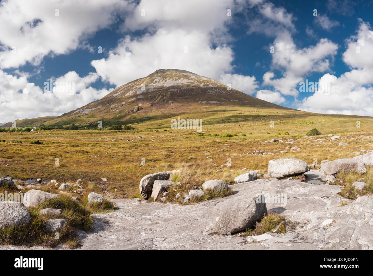 Looking towards Mount Errigal, one of Ireland's most iconic mountains, from outcrop of Main Donegal Granite near Dunlewy, County Donegal, Ireland - Stock Image