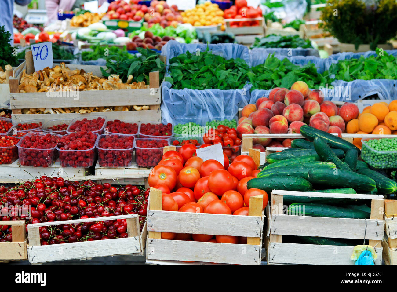 Fresh fruits and vegetables at farmers market - Stock Image