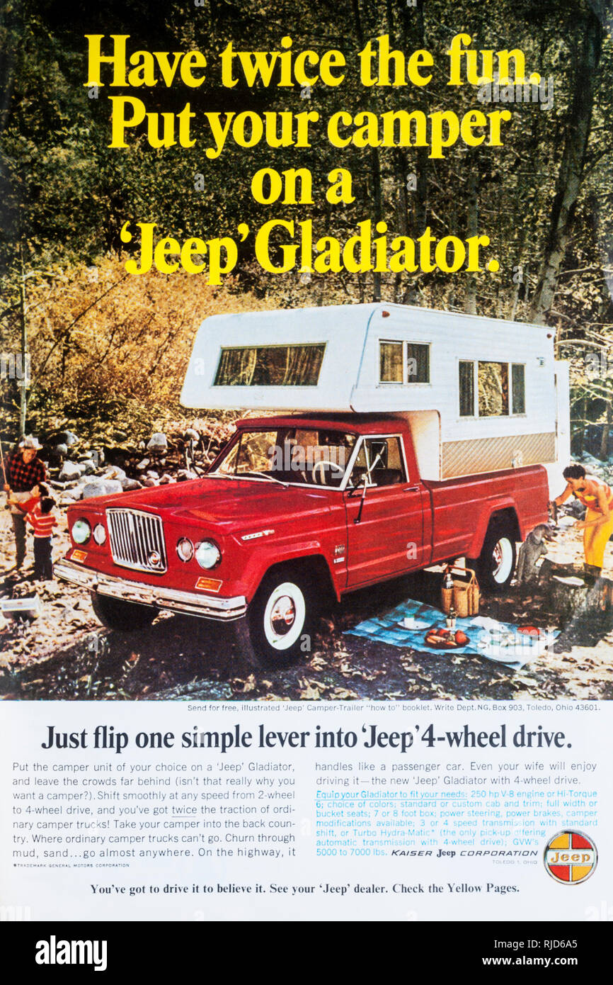 A 1966 magazine advertisement for the Jeep Gladiator with attached camper unit. - Stock Image