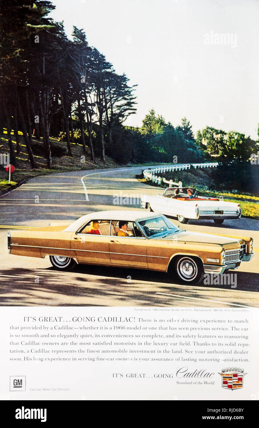 A 1966 magazine advertisement for Cadillac cars. - Stock Image