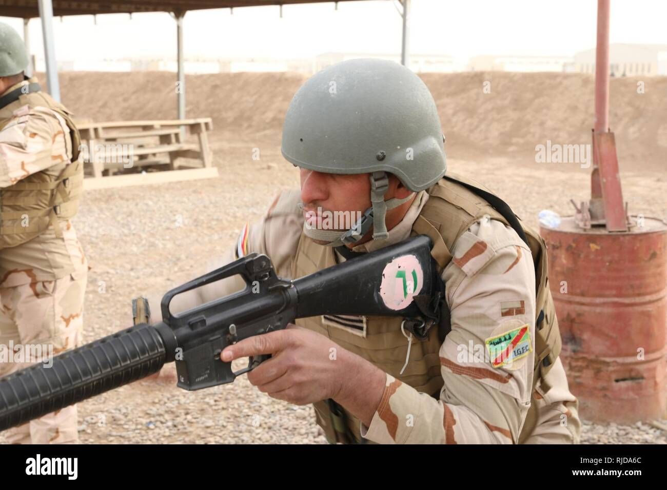 An Iraqi army train the trainer student with the 38th Brigade, Iraqi
