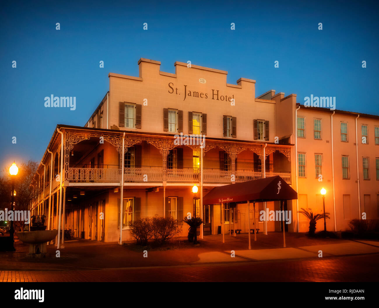 The St. James Hotel is pictured at dusk, Feb. 14, 2015, in Selma, Alabama. The hotel was built in 1837. - Stock Image