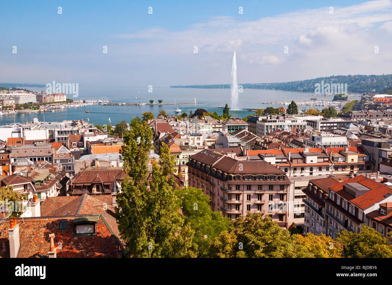 View across Geneva from St Peter's Cathedral tower, Switzerland - Stock Image