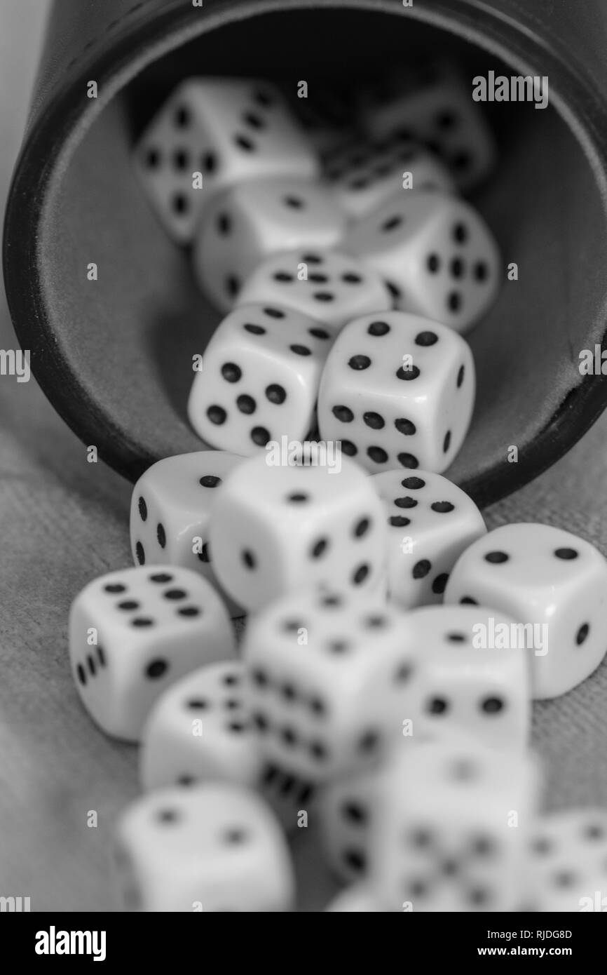cube, macro, luck, dice, leisure, game, casino, number, background, fortune, vegas, gamble, fun, lucky, roll, craps, white, win, bet, closeup, gaming - Stock Image