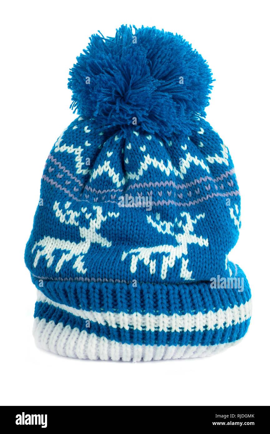 ef9bb18f4aa Blue bobble ski hat isolated white vertical Stock Photo  235097091 ...