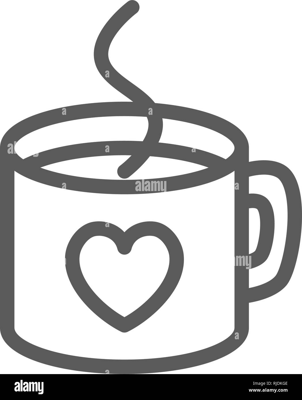 Hot cup with heart, valentine day line icon. - Stock Vector